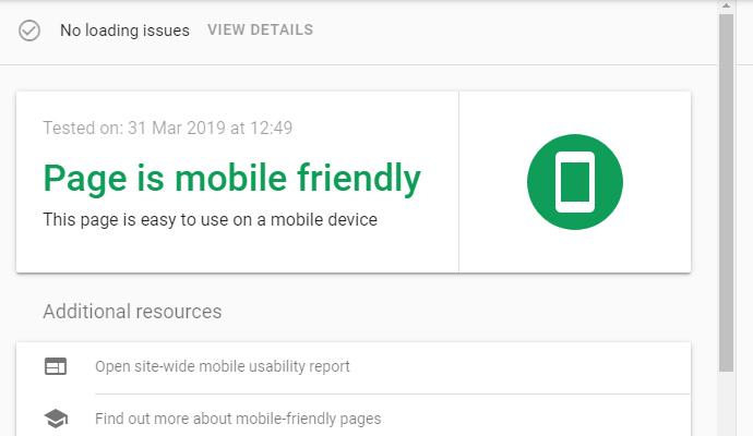 تست mobile friendly قالب اسکار