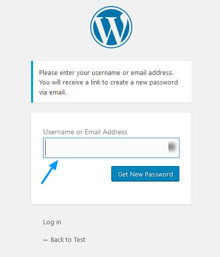 گرفتن رمز عبور جدید در وردپرس